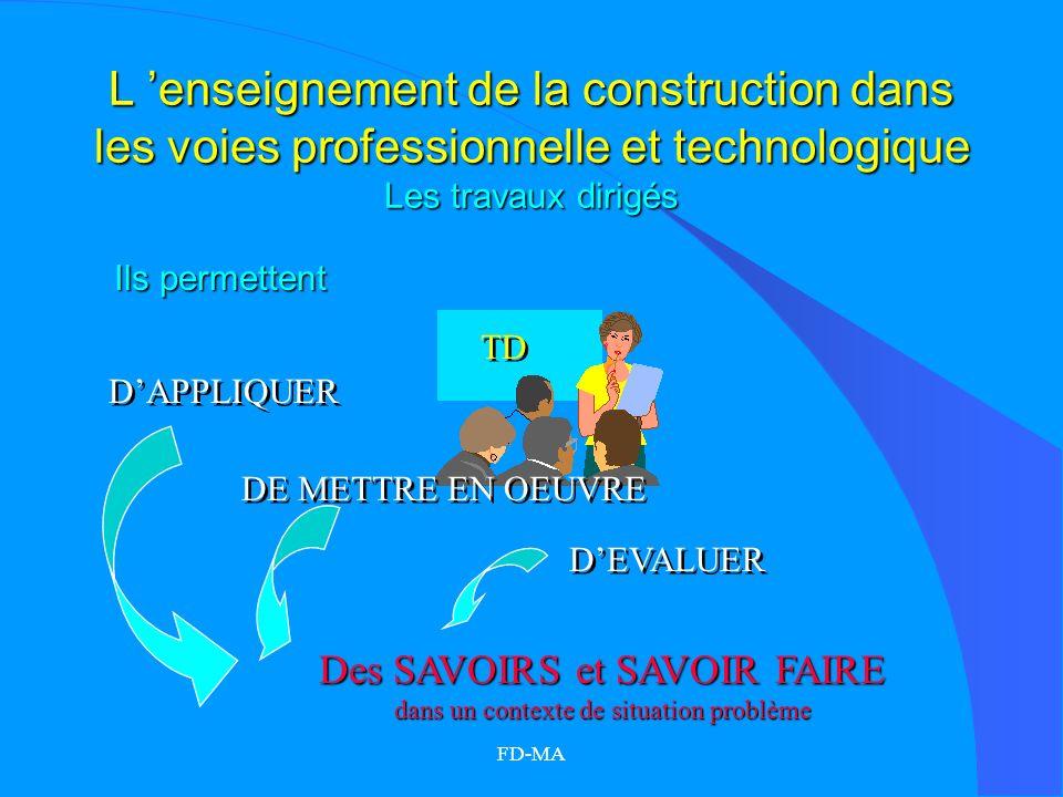 FD-MA L enseignement de la construction dans les voies professionnelle et technologique Les travaux dirigés DAPPLIQUER DEVALUER TD DE METTRE EN OEUVRE