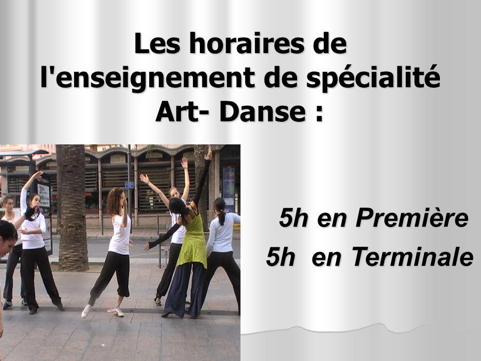 Les horaires de l'enseignement de spécialité Art- Danse : 5h en Première 5h en Terminale