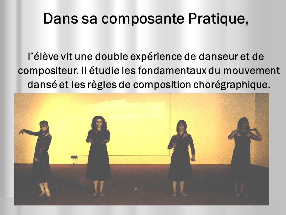 Dans sa composante Pratique, lélève vit une double expérience de danseur et de compositeur. Il étudie les fondamentaux du mouvement dansé et les règle