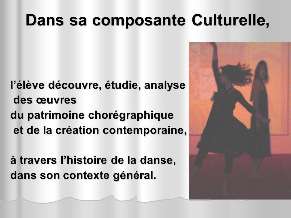 Dans sa composante Culturelle, Dans sa composante Culturelle, lélève découvre, étudie, analyse des œuvres des œuvres du patrimoine chorégraphique et d