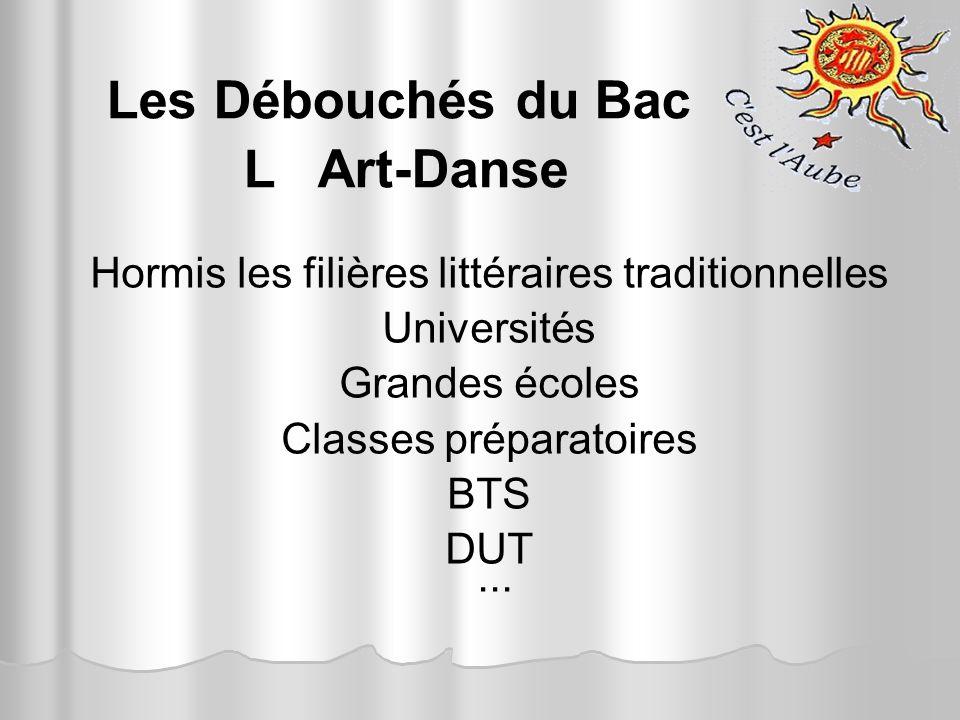 Les Débouchés du Bac L Art-Danse Hormis les filières littéraires traditionnelles Universités Grandes écoles Classes préparatoires BTS DUT...