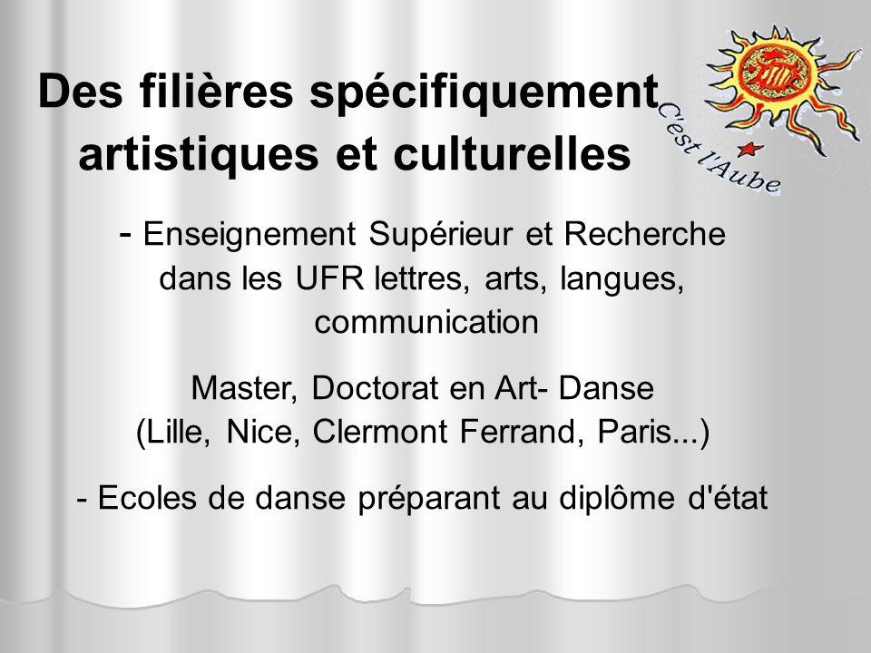 Des filières spécifiquement artistiques et culturelles - Enseignement Supérieur et Recherche dans les UFR lettres, arts, langues, communication Master