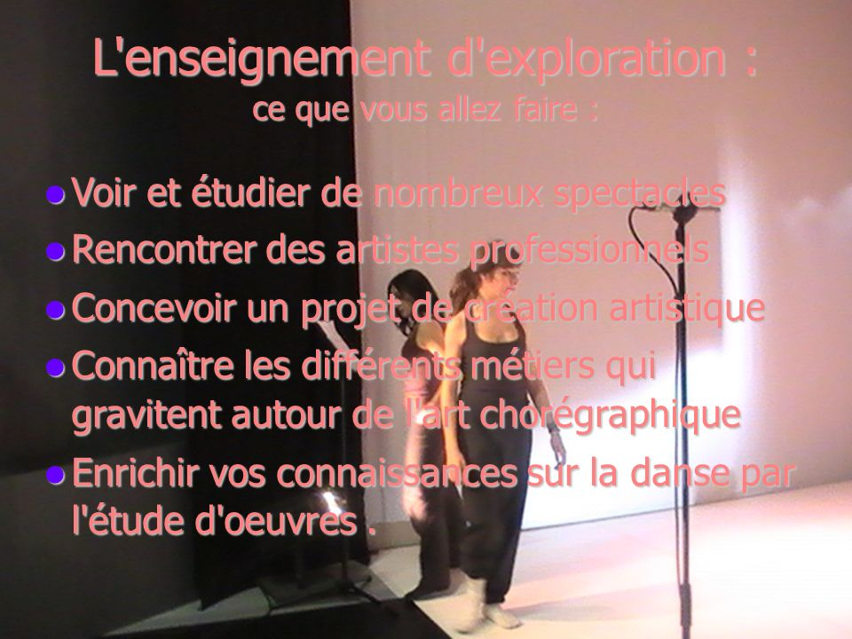 L enseignement facultatif : ce que vous allez faire : Découvrir la pluralité de la danse Découvrir la pluralité de la danse Vivre une triple expérience de danseur – chorégraphe et spectateur.