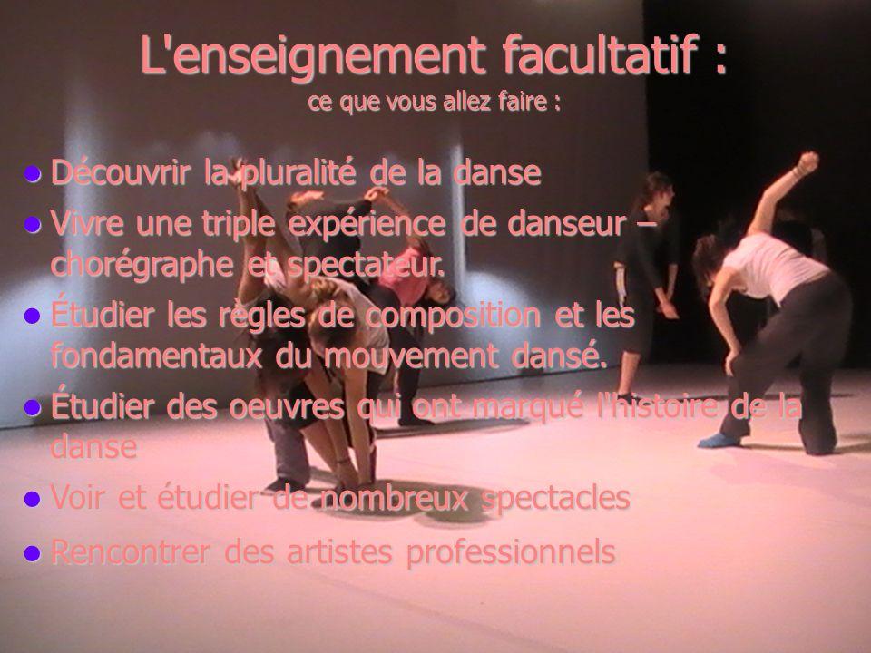 L'enseignement facultatif : ce que vous allez faire : Découvrir la pluralité de la danse Découvrir la pluralité de la danse Vivre une triple expérienc