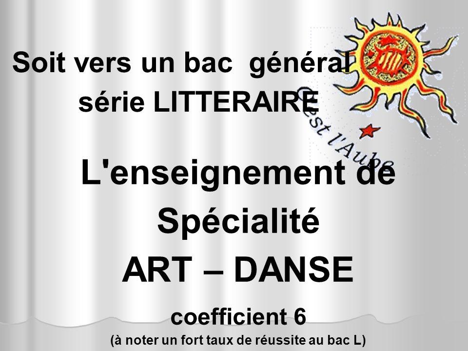Soit vers un bac général série LITTERAIRE L'enseignement de Spécialité ART – DANSE coefficient 6 (à noter un fort taux de réussite au bac L)