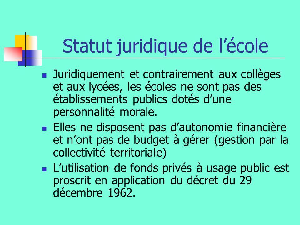 Statut juridique de lécole Juridiquement et contrairement aux collèges et aux lycées, les écoles ne sont pas des établissements publics dotés dune personnalité morale.