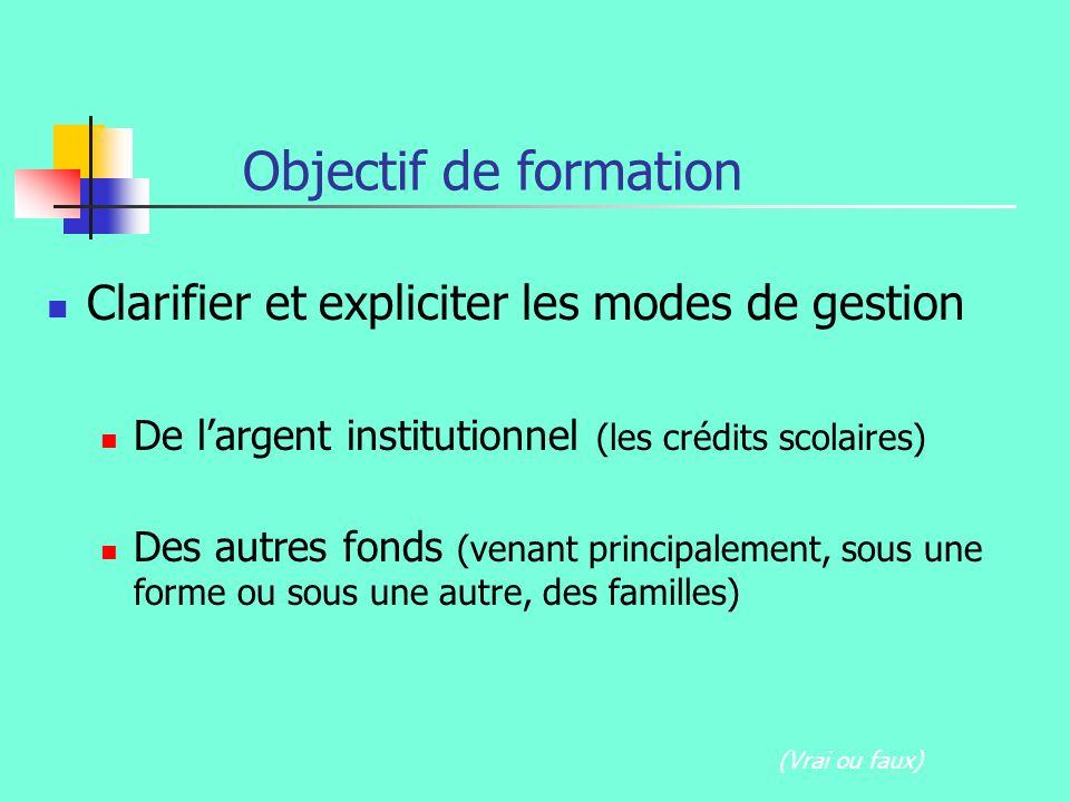 Objectif de formation Clarifier et expliciter les modes de gestion De largent institutionnel (les crédits scolaires) Des autres fonds (venant principalement, sous une forme ou sous une autre, des familles) (Vrai ou faux)