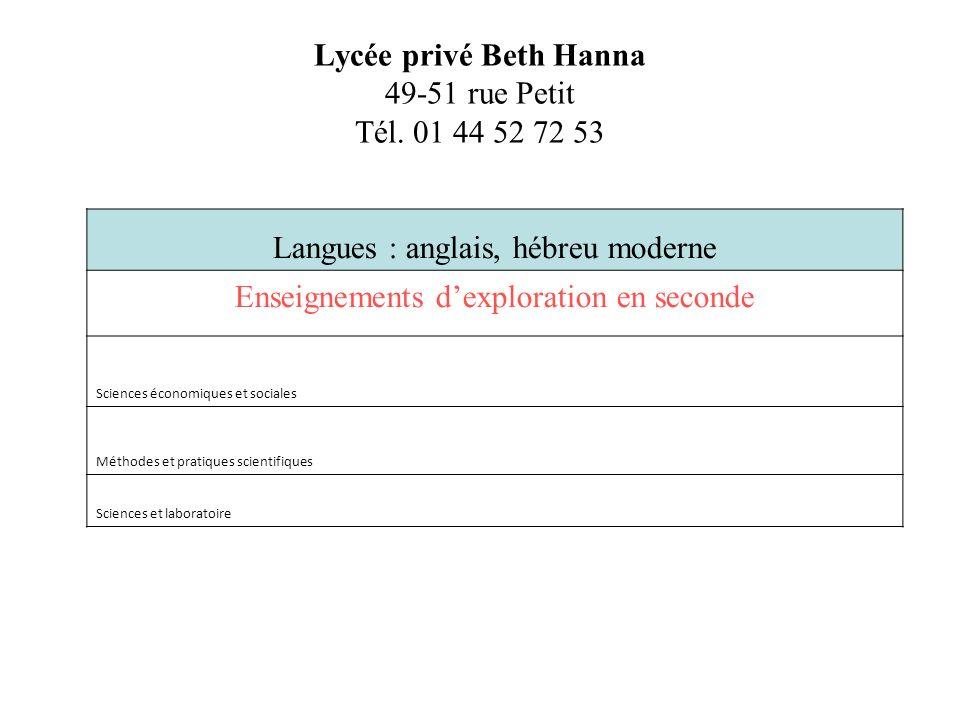 Lycée privé Beth Hanna 49-51 rue Petit Tél. 01 44 52 72 53 Langues : anglais, hébreu moderne Enseignements dexploration en seconde Sciences économique