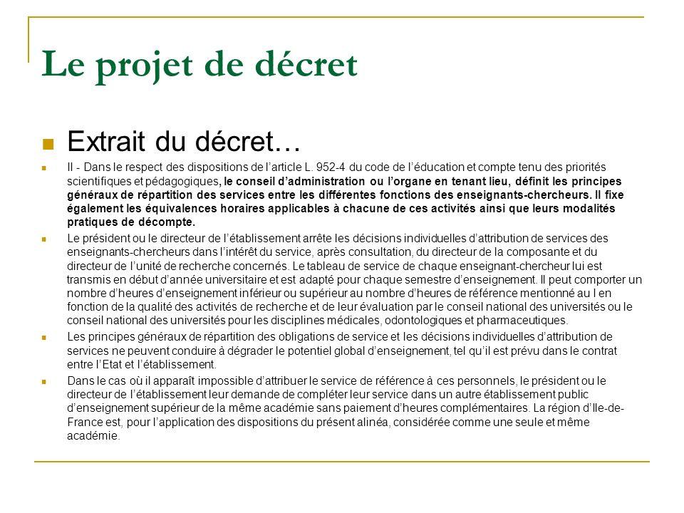 Le projet de décret Extrait du décret… II - Dans le respect des dispositions de larticle L.