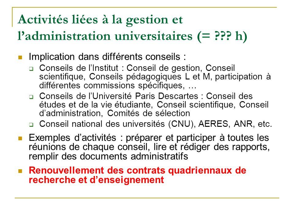 Activités liées à la gestion et ladministration universitaires (= ??.
