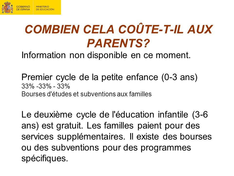 COMBIEN CELA COÛTE-T-IL AUX PARENTS? Information non disponible en ce moment. Premier cycle de la petite enfance (0-3 ans) 33% -33% - 33% Bourses d'ét