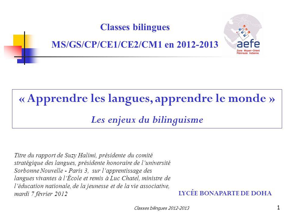 Classes bilingues MS/GS/CP/CE1/CE2/CM1 en 2012-2013 LYCÉE BONAPARTE DE DOHA « Apprendre les langues, apprendre le monde » Les enjeux du bilinguisme Ti
