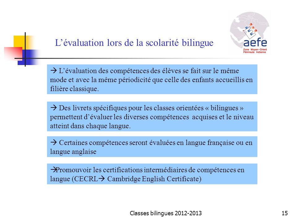 Lévaluation lors de la scolarité bilingue Lévaluation des compétences des élèves se fait sur le même mode et avec la même périodicité que celle des en