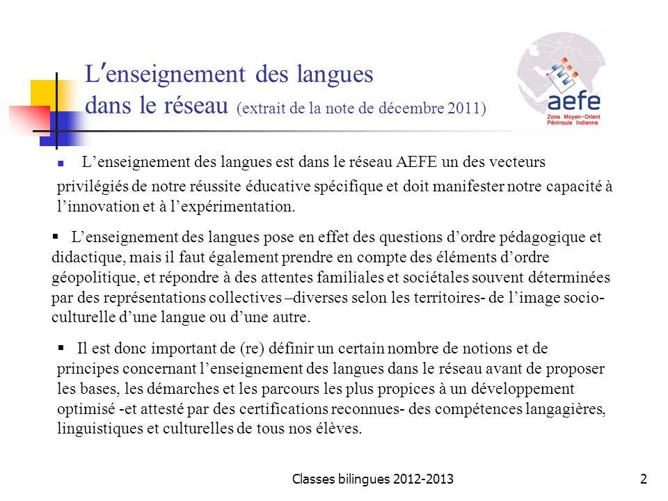 L enseignement des langues dans le réseau (extrait de la note de décembre 2011) Lenseignement des langues est dans le réseau AEFE un des vecteurs priv