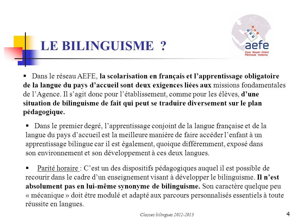 LE BILINGUISME ? Dans le réseau AEFE, la scolarisation en français et lapprentissage obligatoire de la langue du pays daccueil sont deux exigences lié