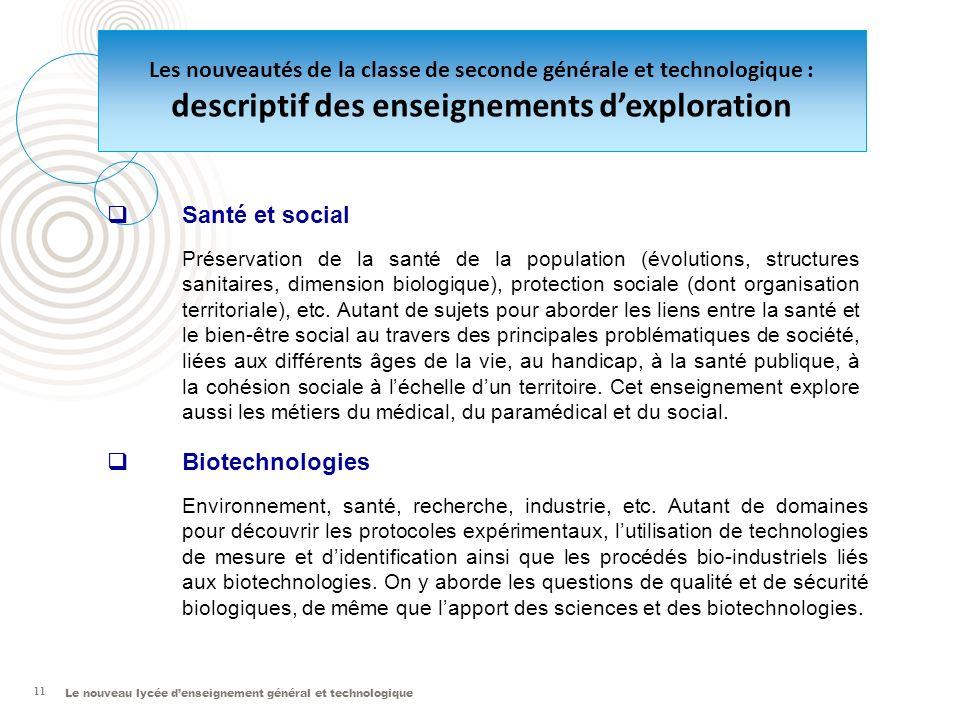 Le nouveau lycée denseignement général et technologique 11 Santé et social Préservation de la santé de la population (évolutions, structures sanitaire