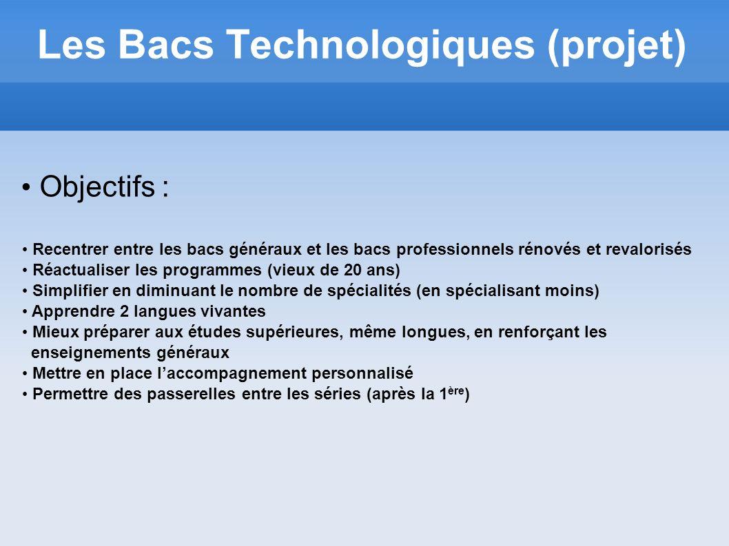 Les Bacs Technologiques (projet) Objectifs : Recentrer entre les bacs généraux et les bacs professionnels rénovés et revalorisés Réactualiser les prog
