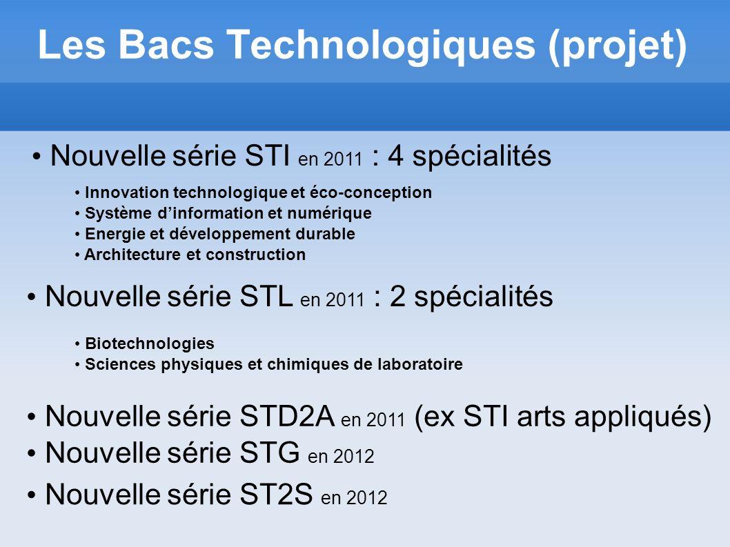 Les Bacs Technologiques (projet) Nouvelle série STI en 2011 : 4 spécialités Innovation technologique et éco-conception Système dinformation et numériq