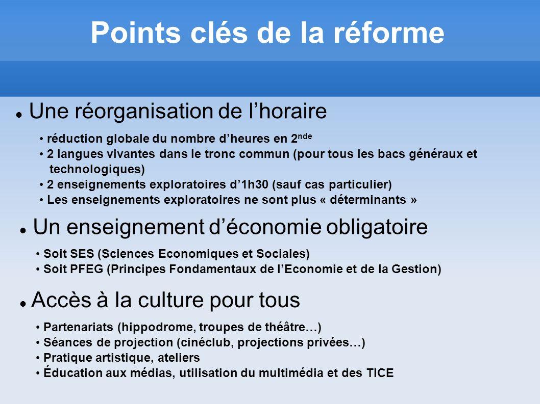 Un enseignement déconomie obligatoire Soit SES (Sciences Economiques et Sociales) Soit PFEG (Principes Fondamentaux de lEconomie et de la Gestion) Poi