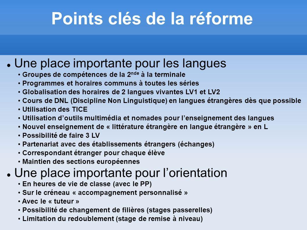 Une place importante pour les langues Points clés de la réforme Groupes de compétences de la 2 nde à la terminale Programmes et horaires communs à tou