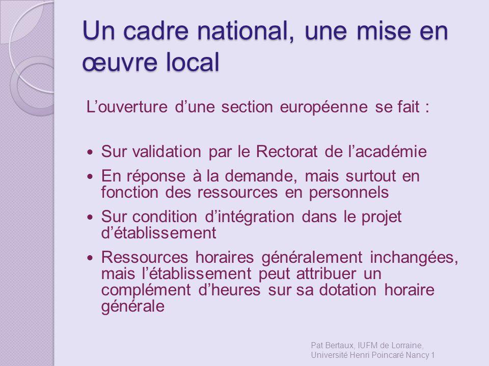 Un cadre national, une mise en œuvre local Louverture dune section européenne se fait : Sur validation par le Rectorat de lacadémie En réponse à la de