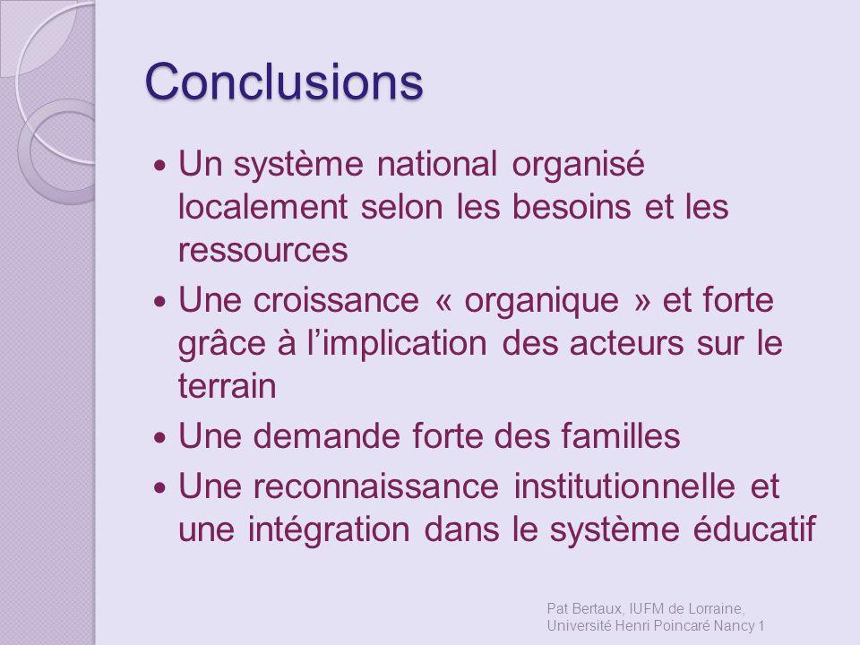 Conclusions Un système national organisé localement selon les besoins et les ressources Une croissance « organique » et forte grâce à limplication des