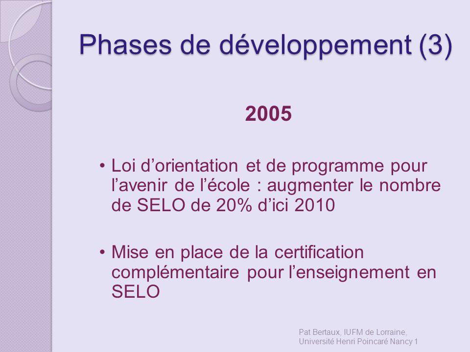 Phases de développement (3) 2005 Loi dorientation et de programme pour lavenir de lécole : augmenter le nombre de SELO de 20% dici 2010 Mise en place
