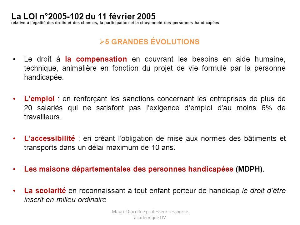 5 GRANDES ÉVOLUTIONS Le droit à la compensation en couvrant les besoins en aide humaine, technique, animalière en fonction du projet de vie formulé pa