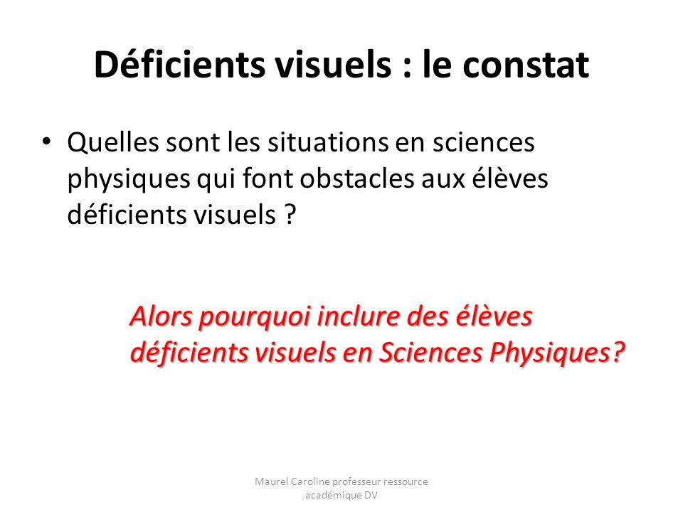 Déficients visuels : le constat Quelles sont les situations en sciences physiques qui font obstacles aux élèves déficients visuels ? Alors pourquoi in