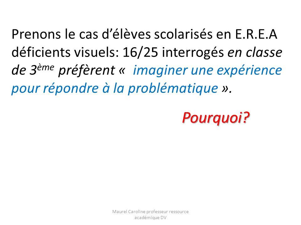Prenons le cas délèves scolarisés en E.R.E.A déficients visuels: 16/25 interrogés en classe de 3 ème préfèrent « imaginer une expérience pour répondre