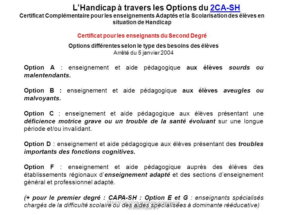 Options différentes selon le type des besoins des élèves Arrêté du 5 janvier 2004 Option A : enseignement et aide pédagogique aux élèves sourds ou mal