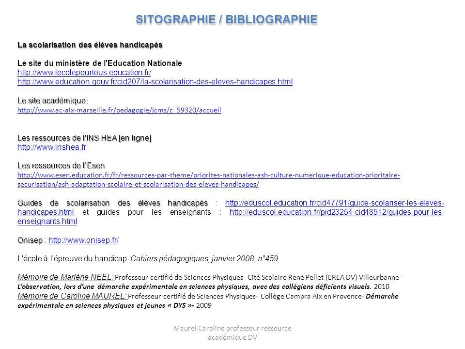La scolarisation des élèves handicapés Le site du ministère de l'Education Nationale http://www.lecolepourtous.education.fr/ http://www.education.gouv