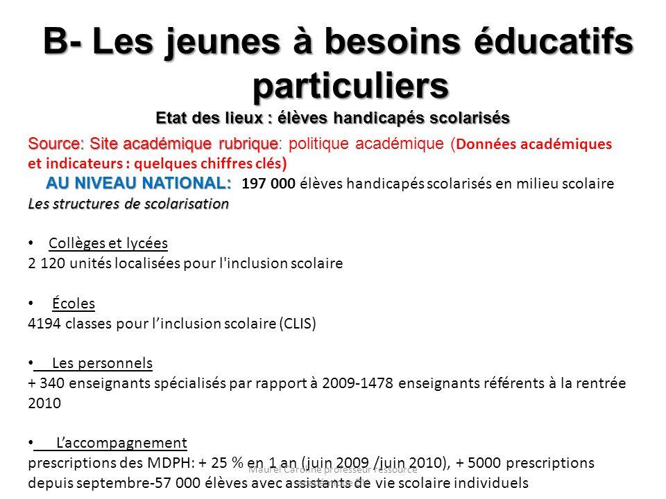 B- Les jeunes à besoins éducatifs particuliers Etat des lieux : élèves handicapés scolarisés Source: Site académique rubrique AU NIVEAU NATIONAL: Sour