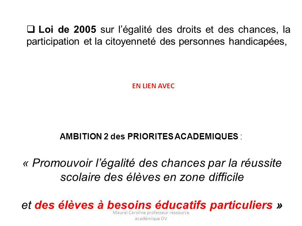 Loi de 2005 sur légalité des droits et des chances, la participation et la citoyenneté des personnes handicapées, AMBITION 2 des PRIORITES ACADEMIQUES