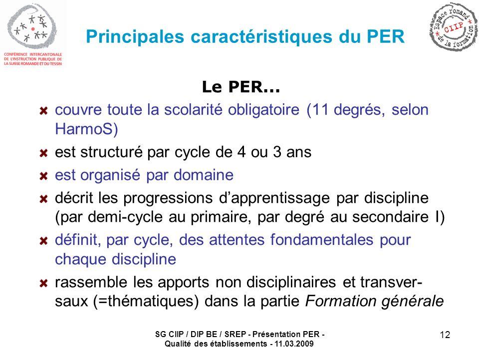 SG CIIP / DIP BE / SREP - Présentation PER - Qualité des établissements - 11.03.2009 12 Principales caractéristiques du PER Le PER... couvre toute la