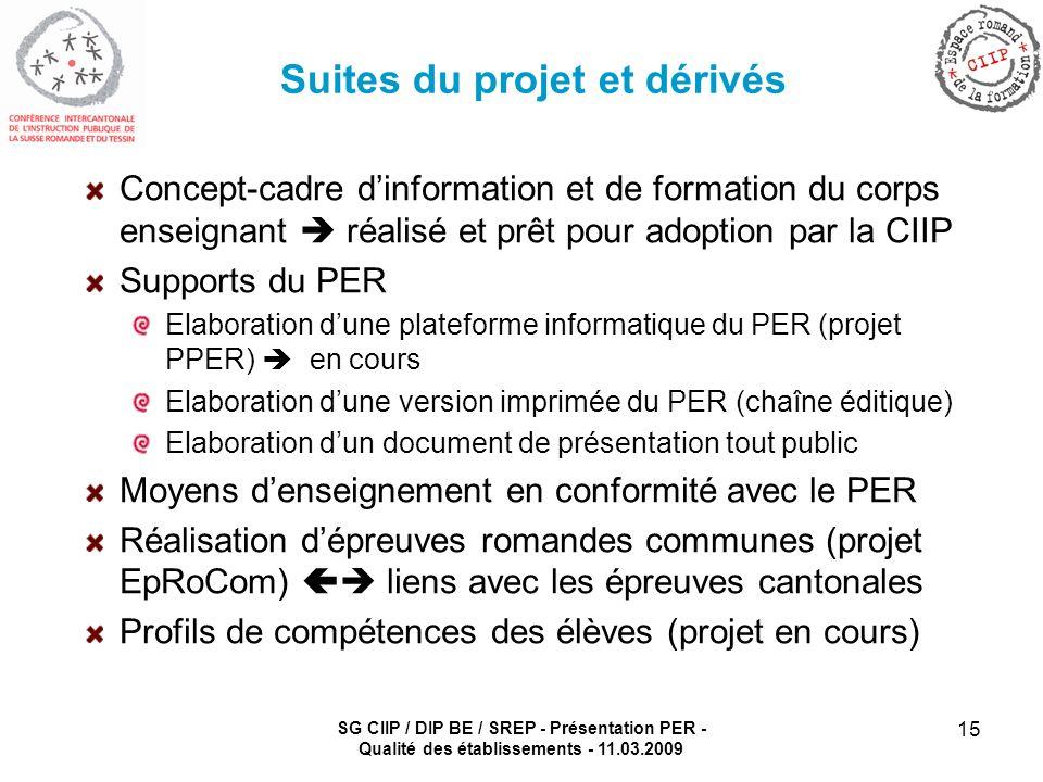 SG CIIP / DIP BE / SREP - Présentation PER - Qualité des établissements - 11.03.2009 15 Suites du projet et dérivés Concept-cadre dinformation et de f