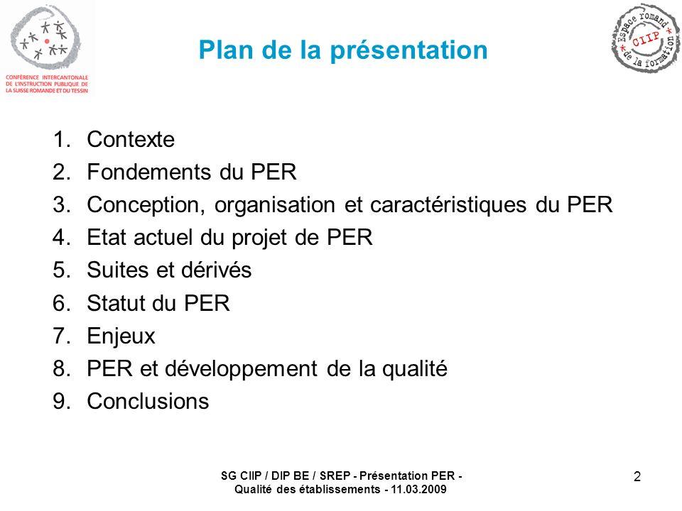 SG CIIP / DIP BE / SREP - Présentation PER - Qualité des établissements - 11.03.2009 2 Plan de la présentation 1.Contexte 2.Fondements du PER 3.Concep