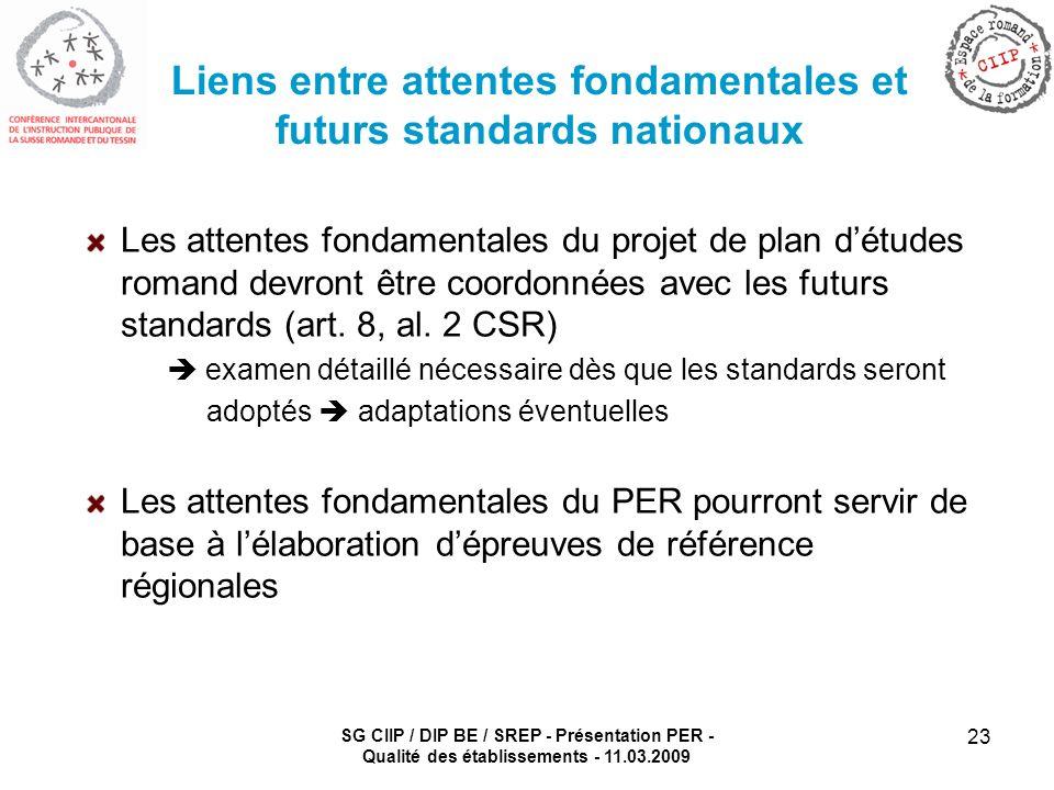 SG CIIP / DIP BE / SREP - Présentation PER - Qualité des établissements - 11.03.2009 23 Liens entre attentes fondamentales et futurs standards nationaux Les attentes fondamentales du projet de plan détudes romand devront être coordonnées avec les futurs standards (art.