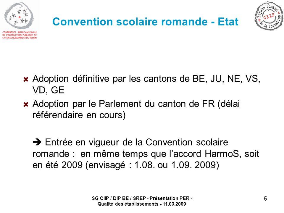 SG CIIP / DIP BE / SREP - Présentation PER - Qualité des établissements - 11.03.2009 5 Convention scolaire romande - Etat Adoption définitive par les cantons de BE, JU, NE, VS, VD, GE Adoption par le Parlement du canton de FR (délai référendaire en cours) Entrée en vigueur de la Convention scolaire romande : en même temps que laccord HarmoS, soit en été 2009 (envisagé : 1.08.