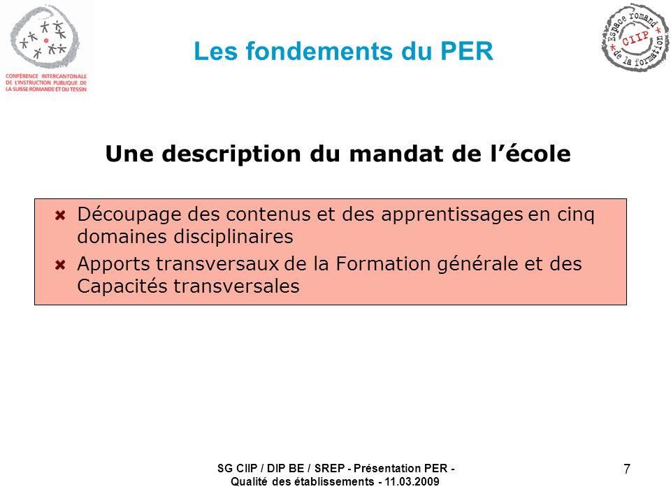 SG CIIP / DIP BE / SREP - Présentation PER - Qualité des établissements - 11.03.2009 7 Les fondements du PER Une description du mandat de lécole Décou