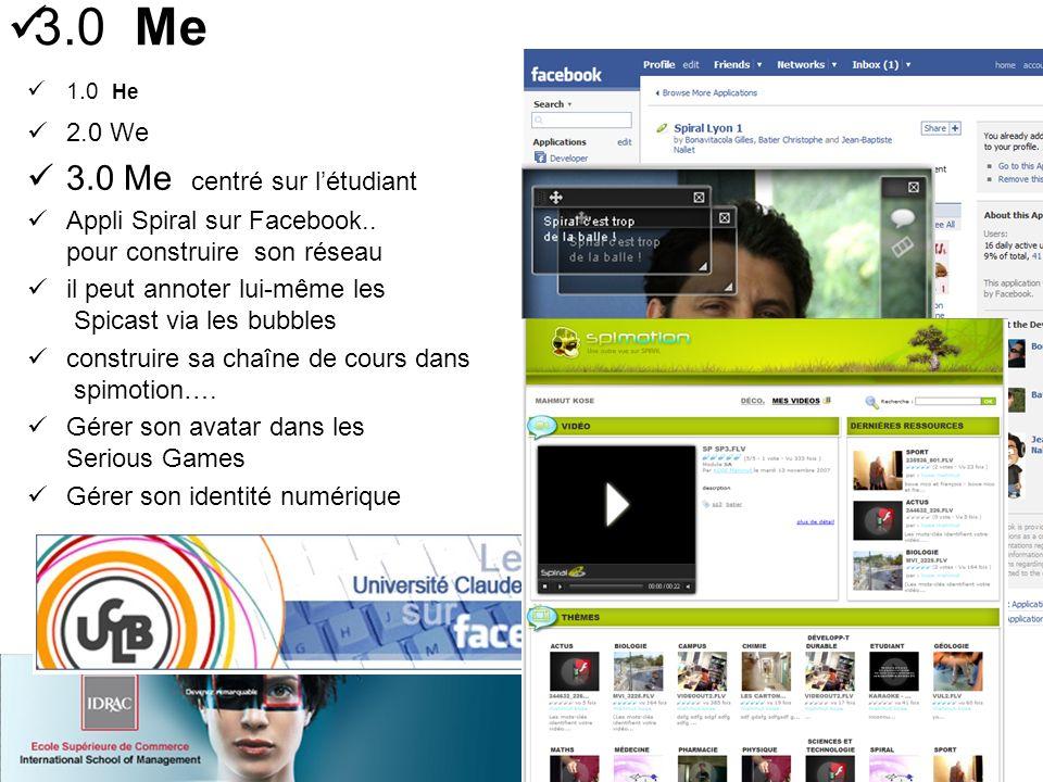 1.0 He 2.0 We 3.0 Me centré sur létudiant Appli Spiral sur Facebook..