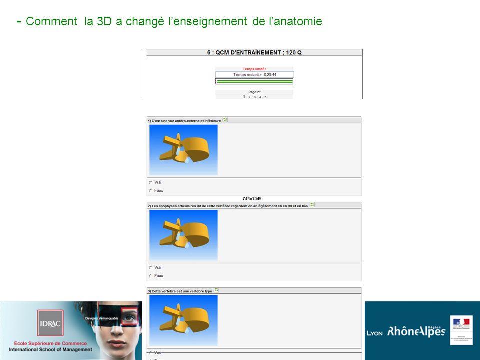 I- Comment la 3d à changé lenseignement de lanatomie - Comment la 3D a changé lenseignement de lanatomie