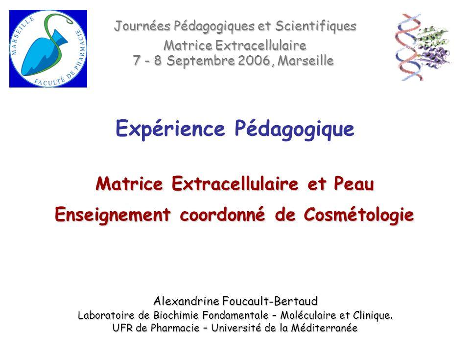 Matrice Extracellulaire et Peau Enseignement coordonné de Cosmétologie Journées Pédagogiques et Scientifiques Matrice Extracellulaire 7 - 8 Septembre