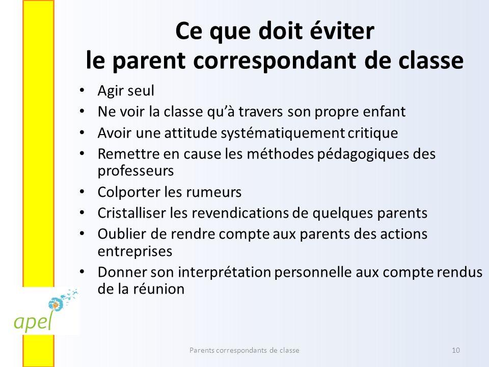 Ce que doit éviter le parent correspondant de classe Agir seul Ne voir la classe quà travers son propre enfant Avoir une attitude systématiquement cri