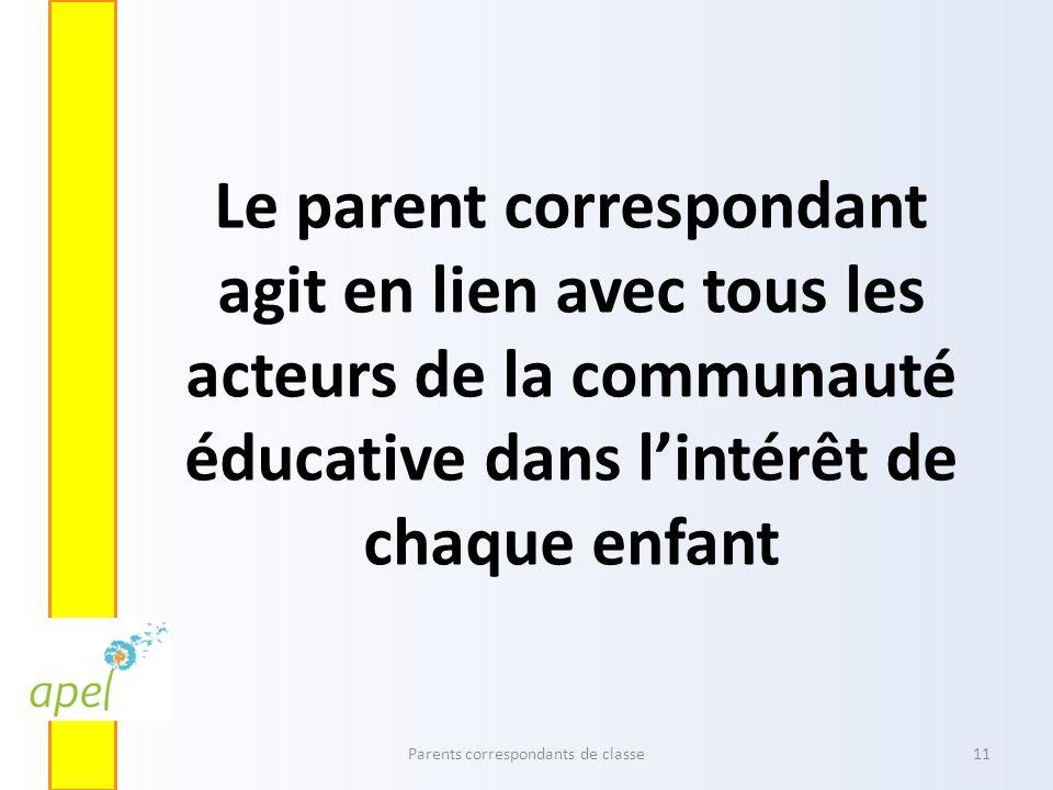 Le parent correspondant agit en lien avec tous les acteurs de la communauté éducative dans lintérêt de chaque enfant Parents correspondants de classe1