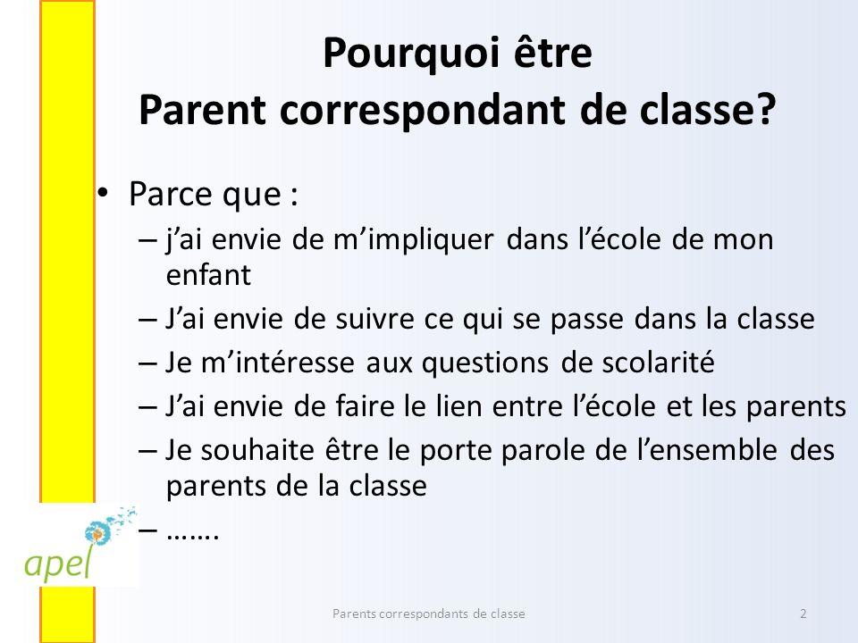 Pourquoi être Parent correspondant de classe? Parce que : – jai envie de mimpliquer dans lécole de mon enfant – Jai envie de suivre ce qui se passe da