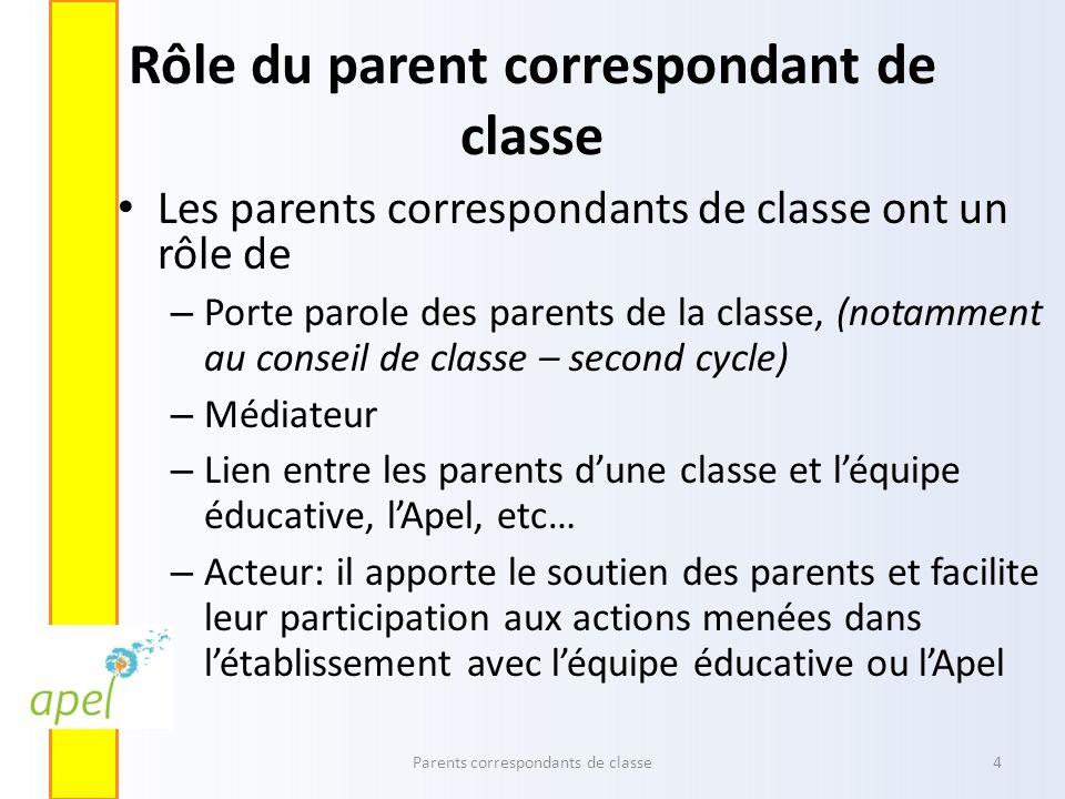 Rôle du parent correspondant de classe Les parents correspondants de classe ont un rôle de – Porte parole des parents de la classe, (notamment au cons