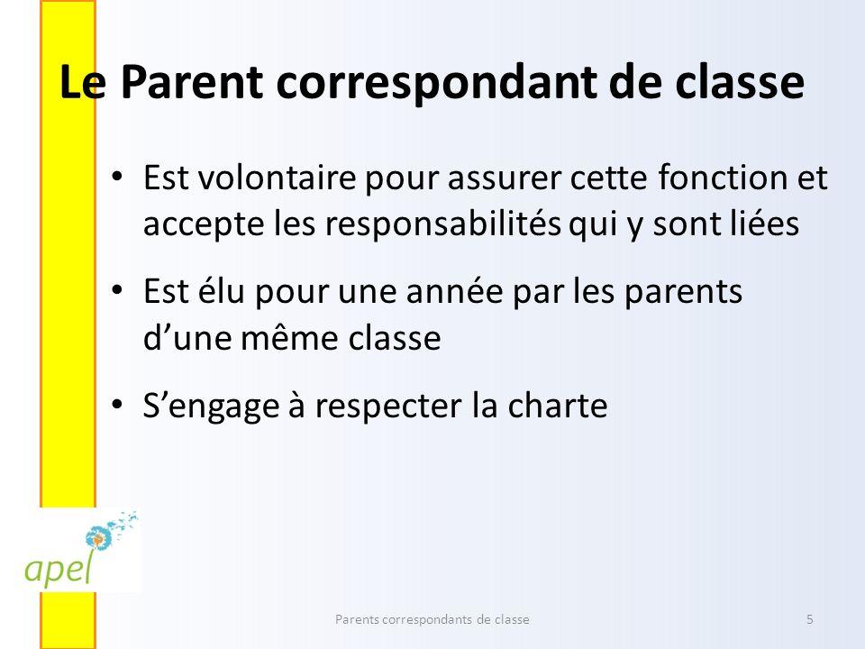 Le Parent correspondant de classe Est volontaire pour assurer cette fonction et accepte les responsabilités qui y sont liées Est élu pour une année pa