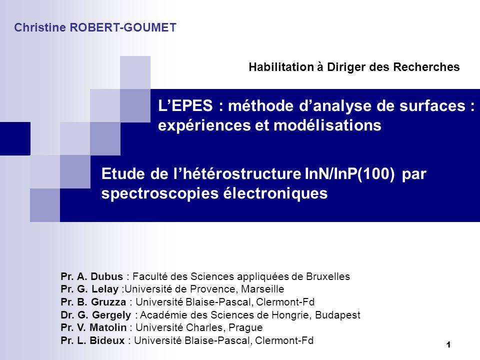 1 Etude de lhétérostructure InN/InP(100) par spectroscopies électroniques Christine ROBERT-GOUMET Pr. A. Dubus : Faculté des Sciences appliquées de Br