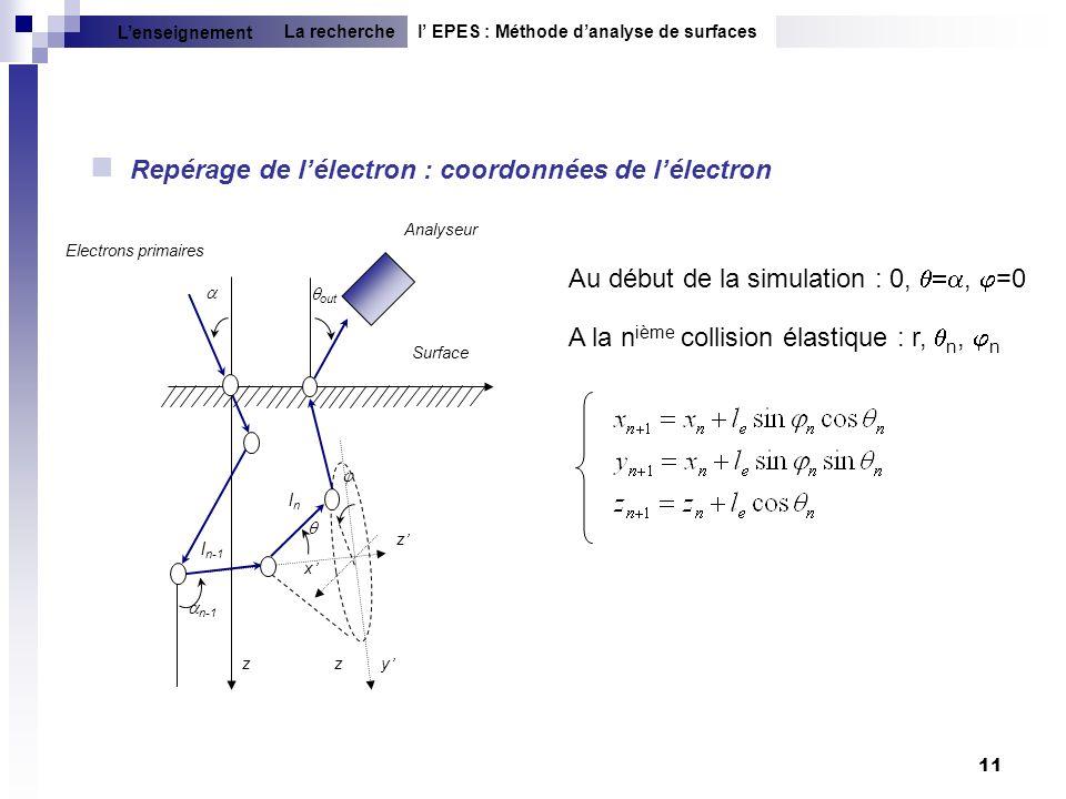 11 Repérage de lélectron : coordonnées de lélectron Au début de la simulation : 0,, =0 A la n ième collision élastique : r, n, n l EPES : Méthode dana